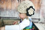 1T to 2T Oatmeal & Charcoal Gray | chunky crochet flower beanie, thick winter hat | baby, toddler, girl's, women's sizes