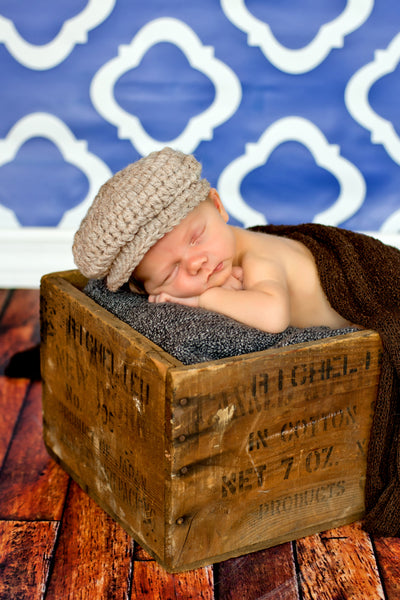 Newborn Tan | Irish wool Donegal newsboy hat, flat cap, golf hat | newborn, baby, toddler, boy, & men's sizes