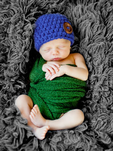 Cobalt blue button beanie baby hat by Two Seaside Babes