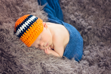 Newborn Orange, Navy Blue, & White Striped Visor Beanie