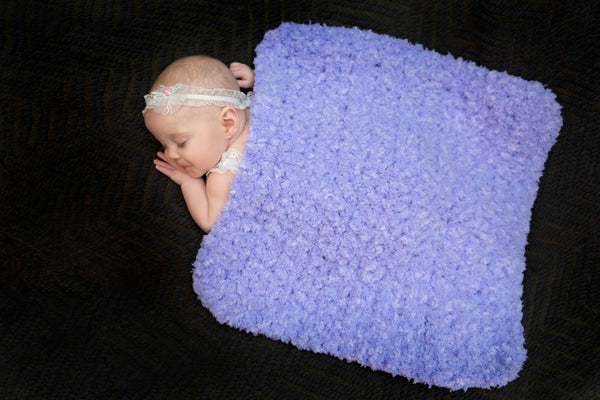 "17"" x 17"" Periwinkle Cotton Candy Baby Blanket"