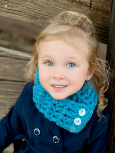1T to 4T Toddler Cornflower Blue Button Scarf by Two Seaside Babes