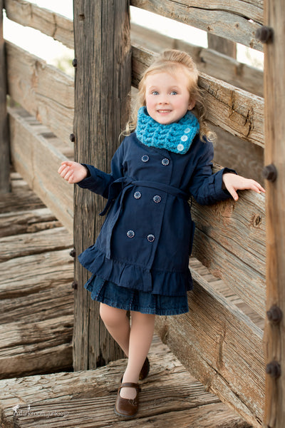 1T to 4T Toddler Cornflower Blue Button Scarf