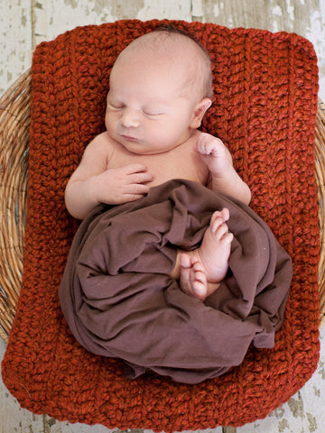 Pumpkin Spice | newborn photo prop layering baby blanket, basket stuffer, bucket filler by Two Seaside Babes