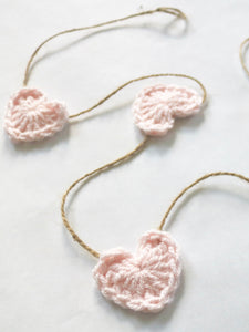 Pale pink Valentine's Day heart farmhouse garland by Two Seaside Babes