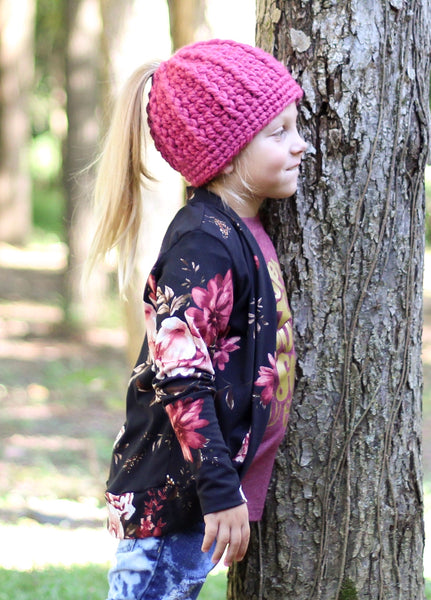 Raspberry pink messy bun ponytail beanie winter hat