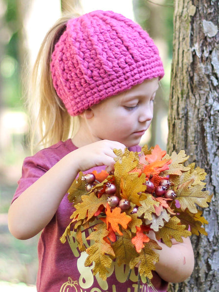 Raspberry pink messy bun ponytail beanie winter hat by Two Seaside Babes