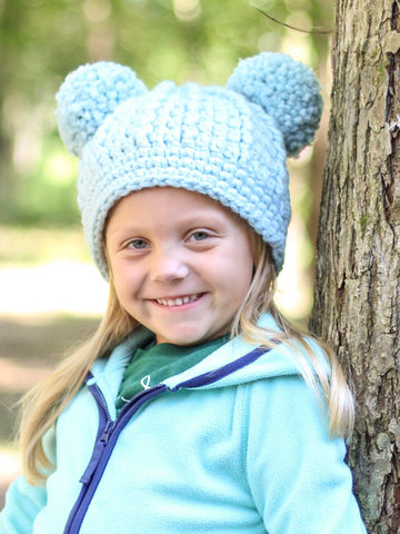 Sky blue double pom beanie winter hat by Two Seaside Babes