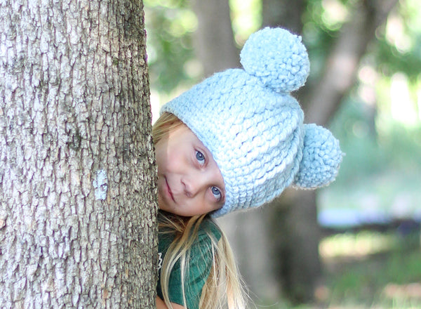Sky blue double pom beanie winter hat
