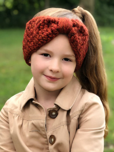 Pumpkin spice knotted bow winter headband by Two Seaside Babes