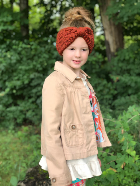 Pumpkin spice knotted bow winter headband
