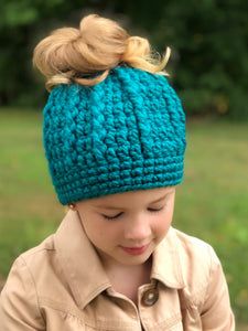 Teal messy bun ponytail beanie winter hat by Two Seaside Babes