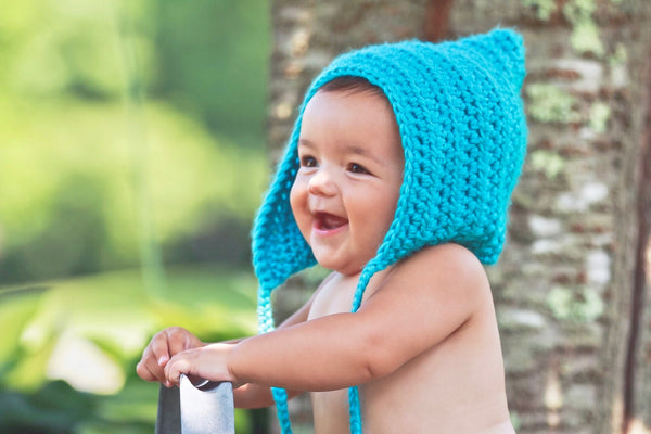 Turquoise blue pixie elf hat