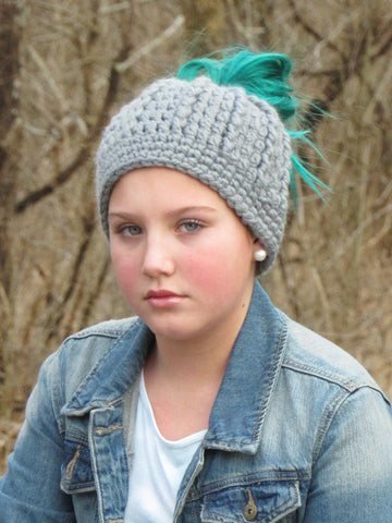 Slate gray messy bun ponytail beanie winter hat by Two Seaside Babes