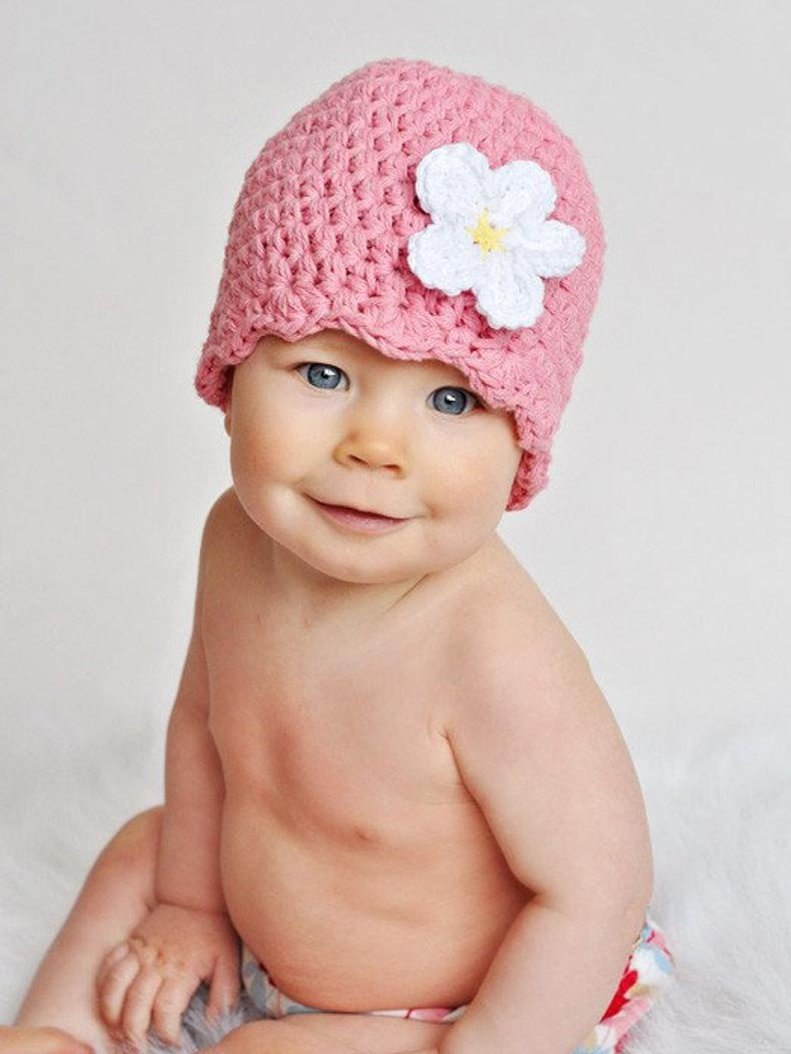 Pink flapper beanie hat | 32 flower colors available by Two Seaside Babes