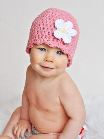Pink flapper beanie hat | 34 flower colors available