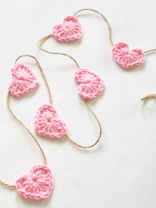 Pink Valentine's Day heart farmhouse garland by Two Seaside Babes