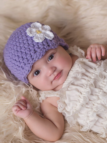 Grape flapper beanie hat | 32 flower colors available by Two Seaside Babes