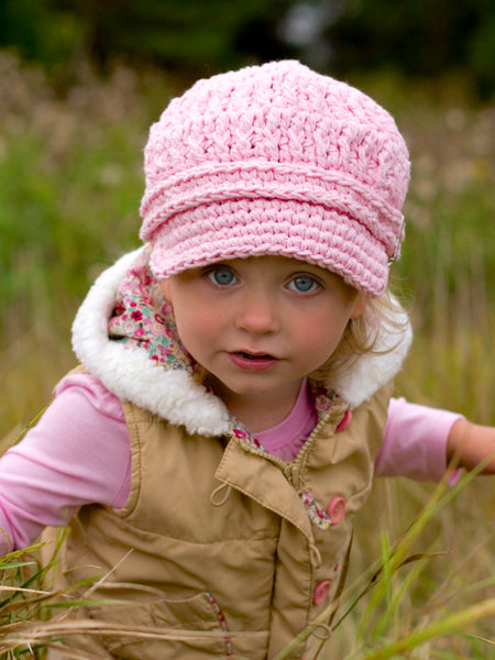 1T to 2T Toddler Girl Light Pink Buckle Newsboy Cap by Two Seaside Babes