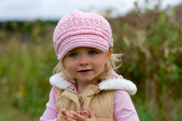 1T to 2T Toddler Girl Light Pink Buckle Newsboy Cap