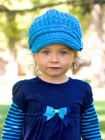 1T to 2T Bright Blue Buckle Newsboy Cap by Two Seaside Babes