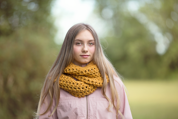 Mustard infinity cowl winter scarf