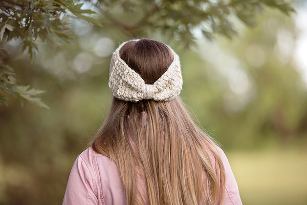 Cream sparkle knotted bow winter headband