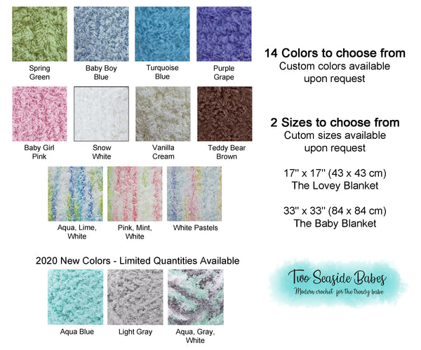 14 colors soft and fluffy crochet baby blanket