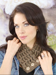Adult Barn Wood Brown Button Scarf by Two Seaside Babes
