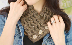 Adult Barn Wood Brown Button Scarf