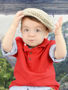 1T to 2T Tan & Cream Irish Donegal Newsboy Hat by Two Seaside Babes