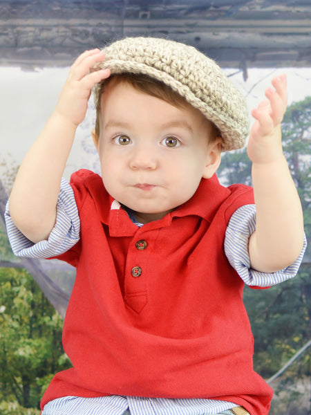 1T to 2T Tan & Cream | Irish wool Donegal newsboy hat, flat cap, golf hat | newborn, baby, toddler, boy, & men's sizes by Two Seaside Babes