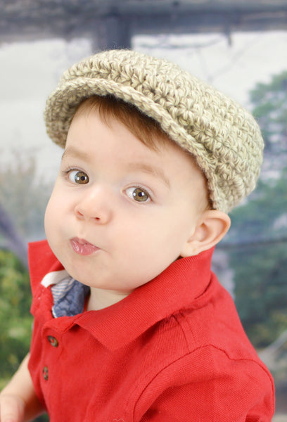 1T to 2T Tan & Cream | Irish wool Donegal newsboy hat, flat cap, golf hat | newborn, baby, toddler, boy, & men's sizes