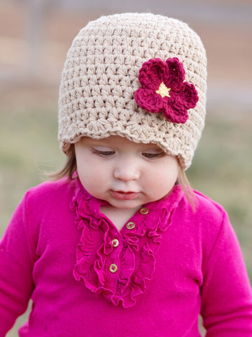 Khaki flapper beanie hat | 34 flower colors available