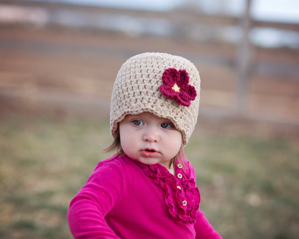 Khaki flapper beanie hat | 32 flower colors available