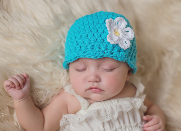 Turquoise blue flapper beanie hat | 34 flower colors available
