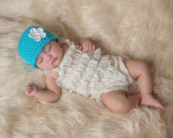 Turquoise blue flapper beanie hat | 32 flower colors available