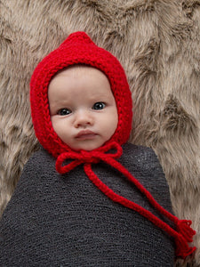 Red Pixie Elf Baby Hat by Two Seaside Babes