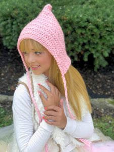 Baby pink pixie elf hat by Two Seaside Babes