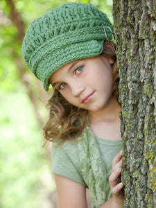 4T to Preteen Olive Green Buckle Newsboy Cap by Two Seaside Babes