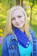 Cobalt Blue Button Scarf