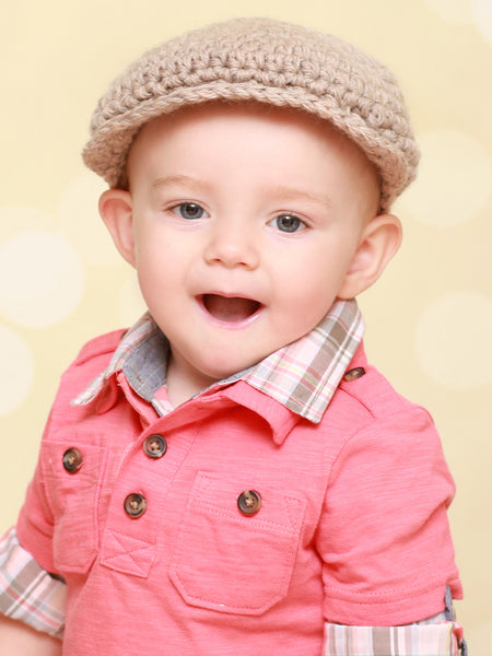 1T to 2T Tan | Irish wool Donegal newsboy hat, flat cap, golf hat | newborn, baby, toddler, boy, & men's sizes by Two Seaside Babes