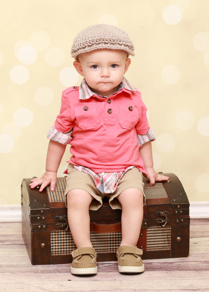 1T to 2T Tan | Irish wool Donegal newsboy hat, flat cap, golf hat | newborn, baby, toddler, boy, & men's sizes