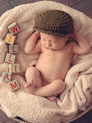 Newborn Olive Green | Irish wool Donegal newsboy hat, flat cap, golf hat | newborn, baby, toddler, boy, & men's sizes by Two Seaside Babes