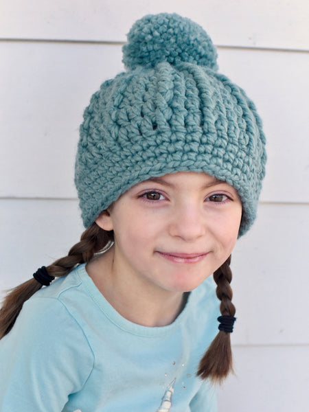 Seafoam pom beanie winter hat by Two Seaside Babes