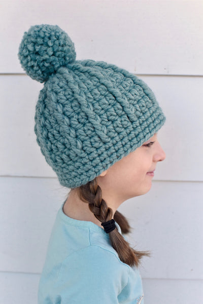 Seafoam pom beanie winter hat