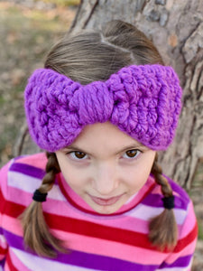 Purple orchid knotted bow ear warmer winter headband by Two Seaside Babes