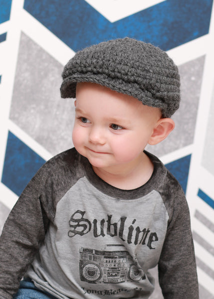 1T to 2T Charcoal Gray | Irish wool Donegal newsboy hat, flat cap, golf hat | newborn, baby, toddler, boy, & men's sizes