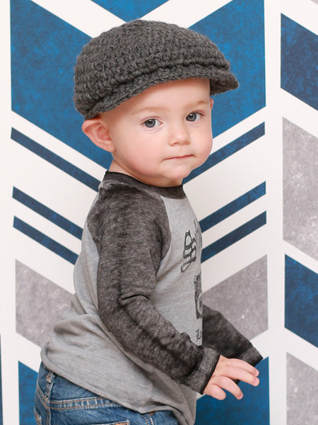 1T to 2T Charcoal Gray | Irish wool Donegal newsboy hat, flat cap, golf hat | newborn, baby, toddler, boy, & men's sizes by Two Seaside Babes