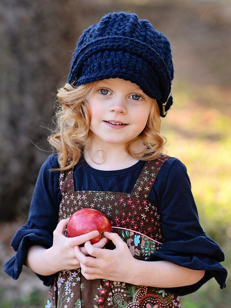 4T to Preteen Kids Navy Blue Buckle Beanie by Two Seaside Babes